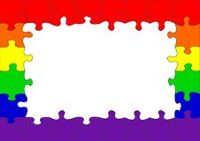Gay rainbow flag puzzle border Royalty Free Stock Image