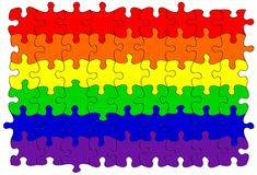 Gay rainbow flag puzzle/jigsaw royalty free stock image