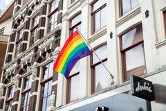 Gay rainbow flag waving Royalty Free Stock Photo