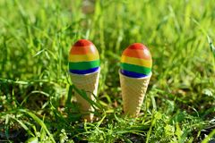 Gay Rainbow LGBT Color Flags on The Eggs. Lgbt couple family. Eggs with lgbt flag color in ice cream waffle cone on nature spring outdoor background. Creative stock photo