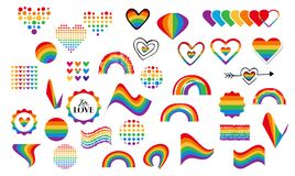 Gay rainbow symbols. Vector abstract doodles seamless pattern. Hand written pride, love, peace lettering with rainbow. Gay parade slogan. LGBT rights symbol vector illustration