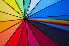 Gay rights. Colorful shot of the inside of an umbrella in the symbolic colors of gay rights royalty free stock photo