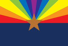 Gay Rights Arizona Flag. SB 1062, a bill to limit the rights and freedoms of gay and lesbian individuals is currently being debated in the Arizona legislature Stock Photo