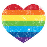Gay rights rainbow retro heart flag. Gay pride flag with rainbow - vintage grunge style Royalty Free Stock Images