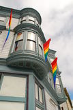 Gay San Francisco. Gay flags on a Castro building, San Francisco, USA stock photography