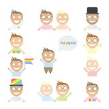 Gay set of happy cartoon characters. Royalty Free Stock Images