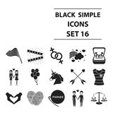 Gay set icons in black style. Big collection gay vector symbol stock illustration Stock Photo