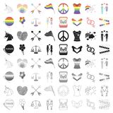 Gay set icons in cartoon style. Big collection of gay vector symbol stock illustration Stock Photography