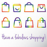 Gay shopping. Set shopping bags icons in colors of LGBT flag Stock Photos