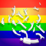 Gay Stick Figures with Rainbow Royalty Free Stock Photos