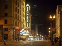 Gay Street, Knoxville, Tennessee, United States of America: [Night life in the center of Knoxville]. Gay Street, Knoxville, Tennessee, United States of America royalty free stock image