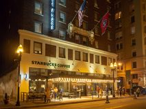 Gay Street, Knoxville, Tennessee, United States of America: [Night life in the center of Knoxville] stock photography