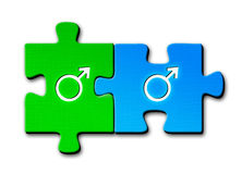 Gay symbols. Male and male sex symbols on connected puzzle pieces on white background Royalty Free Illustration
