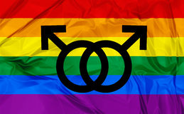 Gay symbols. Illustration of colorful rainbow flag and symbol for gay, lesbian relationship, love or sexuality Stock Photos
