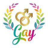 Gay text with wreath, against homosexual discrimination. Modern calligraphy with rainbow colored characters. Good for scrap booking, posters, textiles, gifts stock illustration