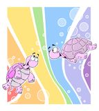 Gay turtles. And rainbow flag background stock illustration
