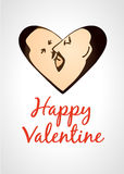 Gay valentine card kissing men in heart shape Stock Images