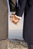 Gay valentines. Two man in the suits holding their hands Royalty Free Stock Images