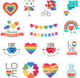Gay Valentines day icons Stock Image