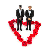 Gay wedding. With couple in red flower heart Stock Image
