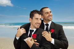Gay wedding. Two gay men married on a beach Royalty Free Stock Images