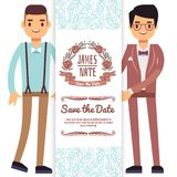 Gay wedding banner, flyer or poster template. With cartoon character fiances Royalty Free Stock Photos