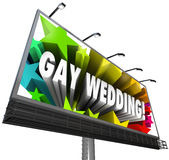 Gay Wedding Billboard Sign Banner Homosexual Marriage. The words Gay Wedding surrounded by stars on a billboard to announce the marriage of a homosexual, same Royalty Free Stock Photos