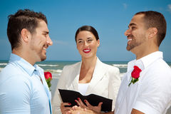 Gay wedding ceremony. Two gay man in wedding ceremony Stock Photography