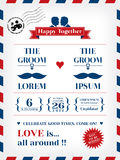 Gay Wedding Invitation. Template in Postcard and Air mail style Royalty Free Stock Photo