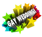 Gay Wedding Starburst Announcement Homosexual Marriage. A starburst of colorful fireworks to celebrate a Gay Wedding with homosexual marriages between a couple Royalty Free Stock Photography