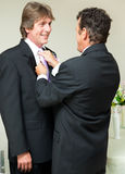 Gay Wedding - Straightening the Tie Stock Photo