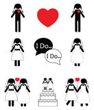 Gay woman wedding icons set Stock Photography