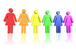Gay women flag. Gay flag colored row of woman signs Stock Image