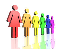 Gay women flag side. A row of gay flag colored woman sign Stock Photography