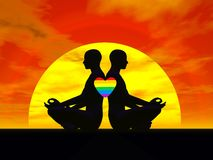 Gay yoga love - 3D render Stock Image