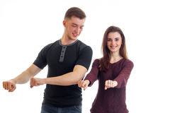 Gay young guy and girl laughing and dancing hands Stock Image