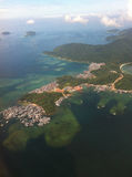 Gaya Island. An aerial view of Gaya Island and the illiegal immigrant colony called Kampung Lok Urai, in Tunku Abdul Rahman National Park, Malaysia Royalty Free Stock Photography