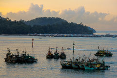 Gaya Island water village  at Dawn Royalty Free Stock Image