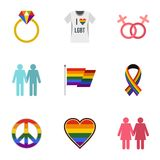 Gays and lesbians icons set, flat style Royalty Free Stock Photos