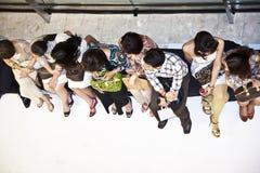 一场时装表演的观众在商城Gayson的在曼谷 免版税库存图片
