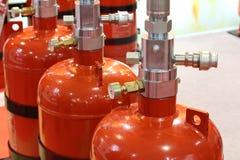 Gaz automatique s'éteignant l'installation Systèmes extincteurs de gaz modulaire photographie stock libre de droits