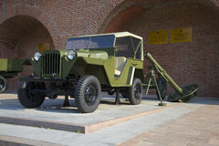 The GAZ-67B and 120-mm mortar in the exposure equipment of the great Patriotic war in Nizhny Novgorod Kremlin Royalty Free Stock Photography