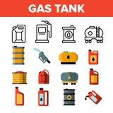 Gaz, benzyna zbiornika Liniowe Wektorowe ikony Ustawia? ilustracja wektor