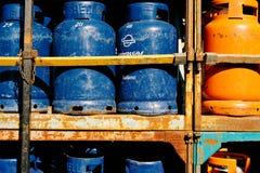 Pile of gaz bottles Royalty Free Stock Image