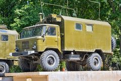 GAZ-66. Bronnitsy, Russia - July, 31, 2016: monument to old Soviet military truck GAZ-66 Stock Photo