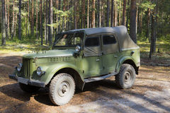 GAZ-69 at the edge of the summer forest Stock Photography