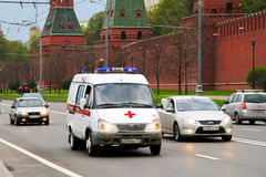 GAZ 32214 Gazelle. MOSCOW, RUSSIA - MAY 5, 2012: Ambulance car GAZ 32214 Gazelle in the city stree near the Kremlin wall Stock Images