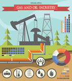 Gaz i przemysł paliwowy infographic Obraz Stock