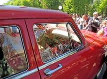 20世纪60年代GAZ M21伏尔加河苏联减速火箭的汽车内部  免版税库存照片