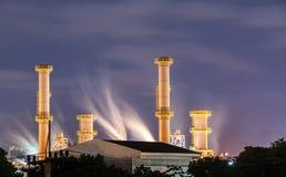 Gaz naturalny fabryka w nighttime Zdjęcie Stock